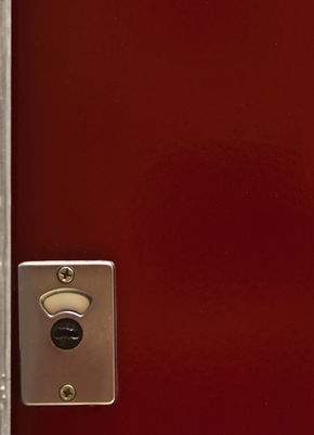 Cubicle door in eastern sunset red