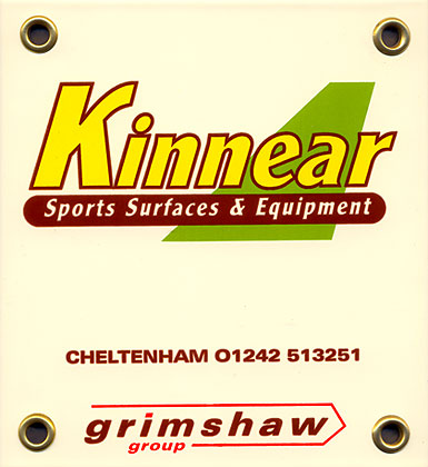 Vitreous enamelled steel Kinnear Sports Surfaces & Equipment sign
